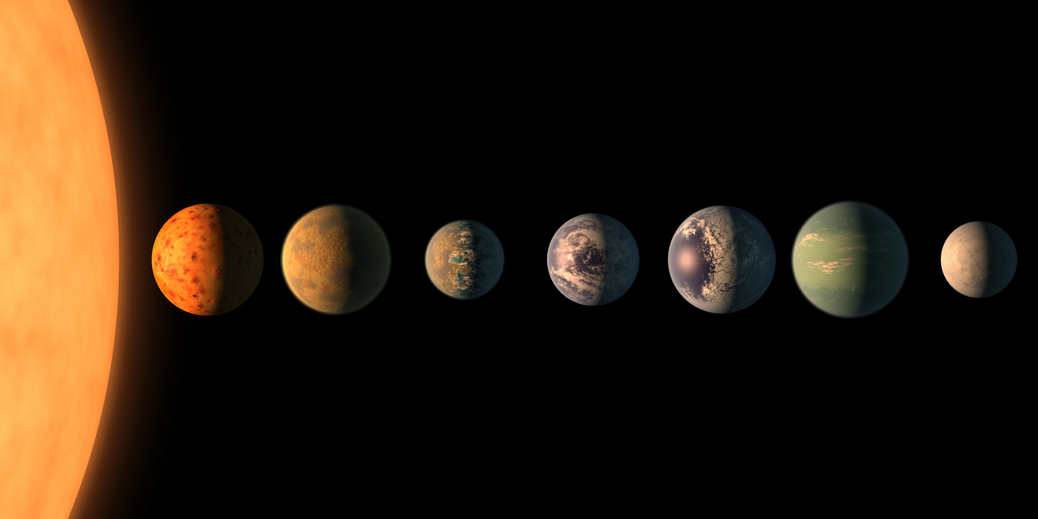 This is a NASA artist's conception of the planets. According to NASA's website, three of the planets are in an area where water may exist.
